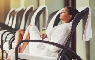 woman sitting at hotel spa